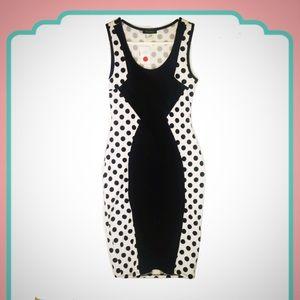 Beware! Black & White Polka Dot Bodycon Dress